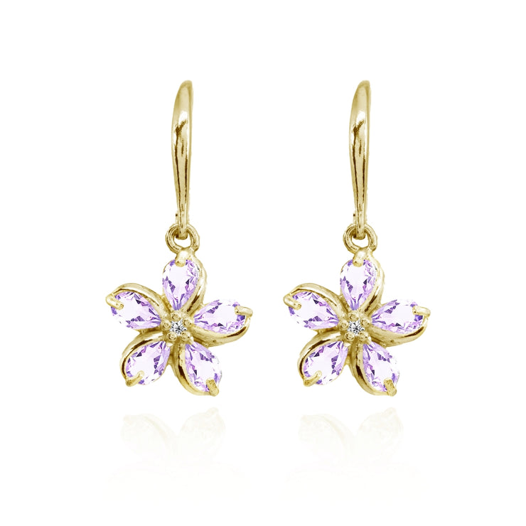 Yellow Gold Flashed Sterling Silver Amethyst Polished Flower Dangle Leverback Earrings