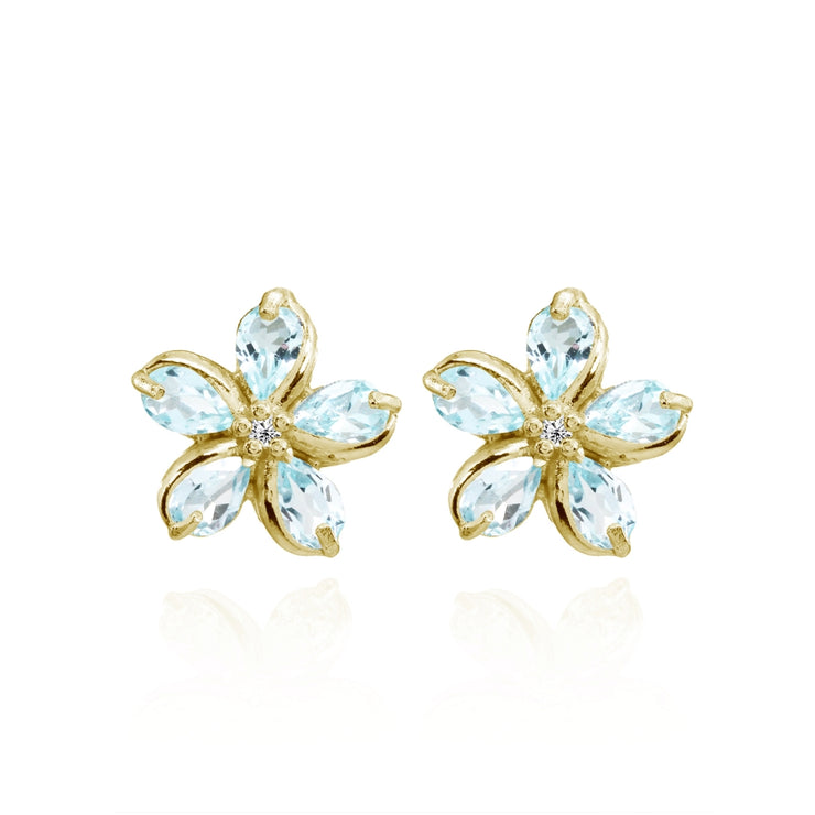Yellow Gold Flashed Sterling Silver Blue Topaz Polished Flower Stud Earrings