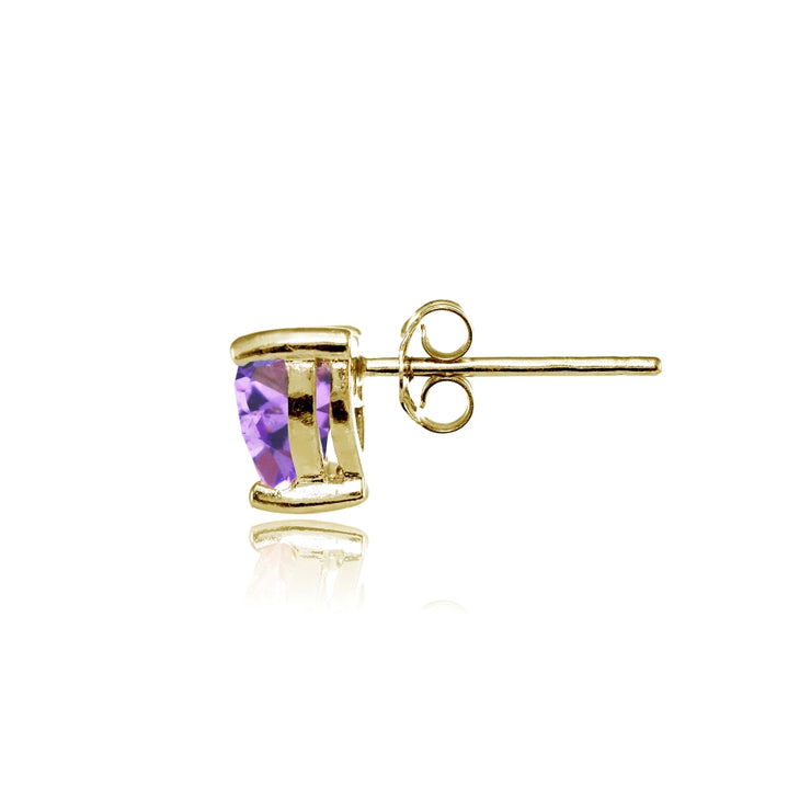 Yellow Gold Flashed Sterling Silver Created Amethyst 6mm Heart Stud Earrings