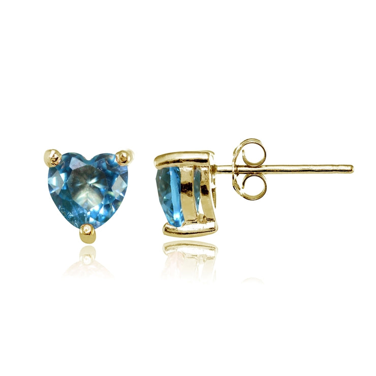 Yellow Gold Flashed Sterling Silver Created Blue Topaz 6mm Heart Stud Earrings