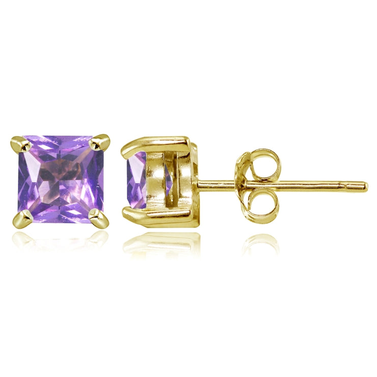 Yellow Gold Flashed Sterling Silver Created Amethyst 5mm Princess-cut Stud Earrings