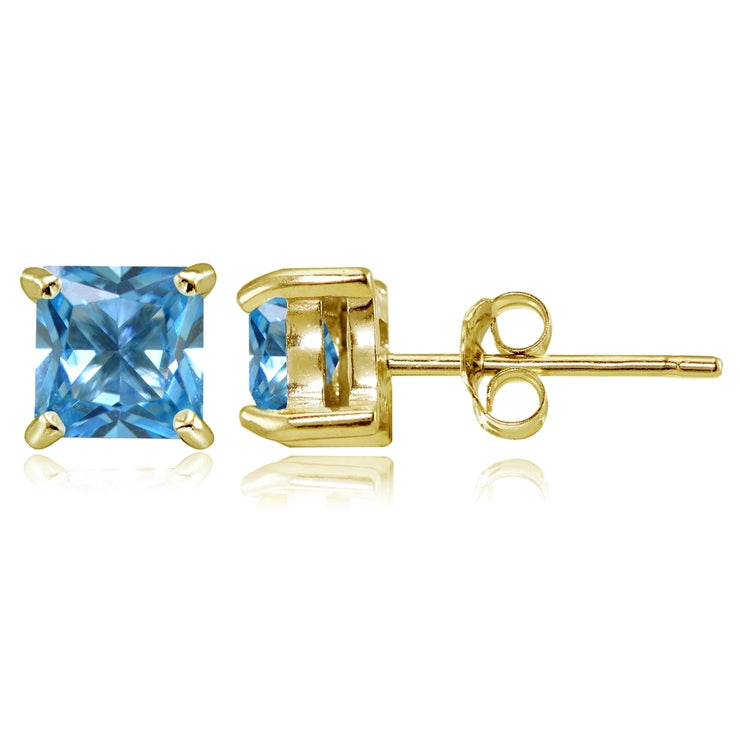 Yellow Gold Flashed Sterling Silver Created Blue Topaz 5mm Princess-cut Stud Earrings