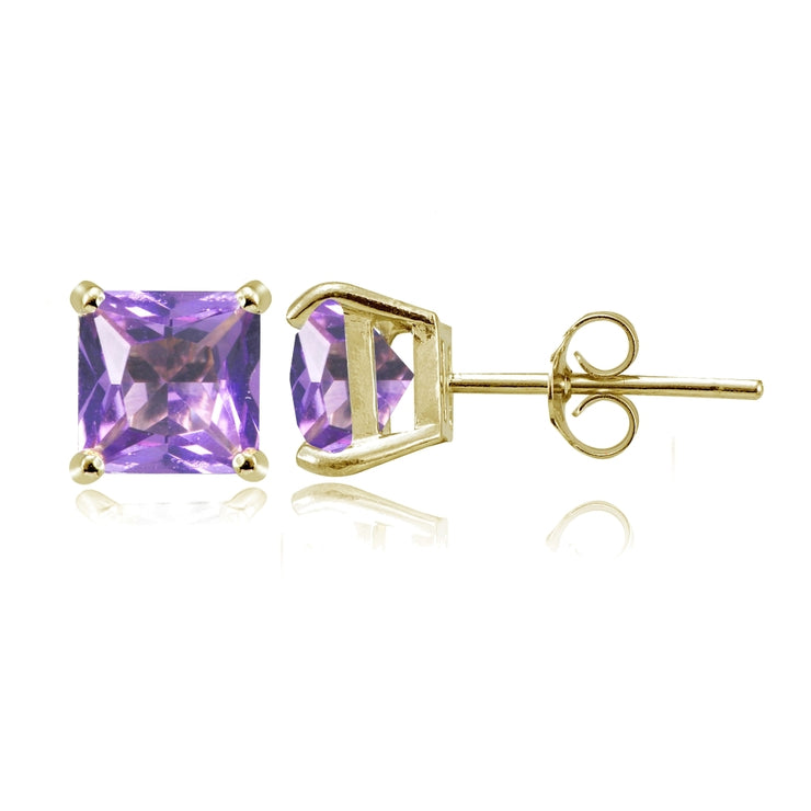 Yellow Gold Flashed Sterling Silver Created Amethyst 6mm Princess-cut Stud Earrings