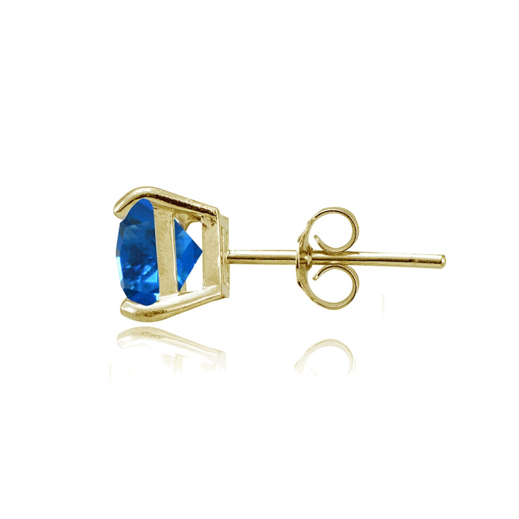 Yellow Gold Flashed Sterling Silver Created London Blue Topaz 6mm Princess-cut Stud Earrings