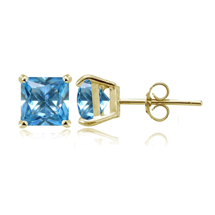 Yellow Gold Flashed Sterling Silver Created Blue Topaz 6mm Princess-cut Stud Earrings
