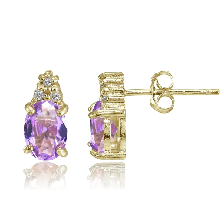 Yellow Gold Flashed Sterling Silver Created Amethyst and CZ Accent Oval Stud Earrings