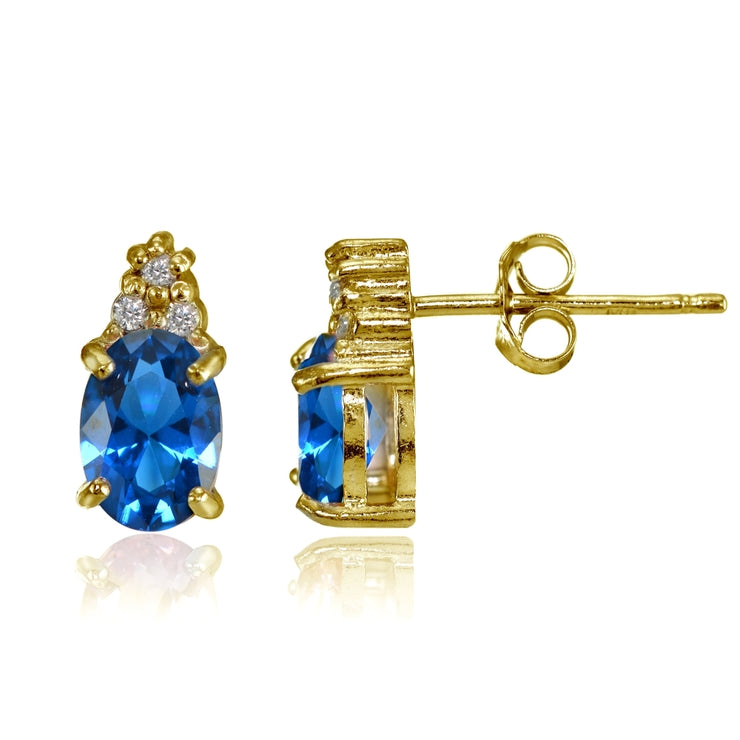 Yellow Gold Flashed Sterling Silver Created London Blue Topaz and CZ Accent Oval Stud Earrings