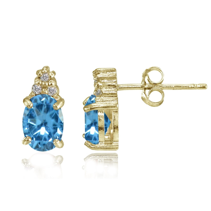 Yellow Gold Flashed Sterling Silver Created Blue Topaz and CZ Accent Oval Stud Earrings