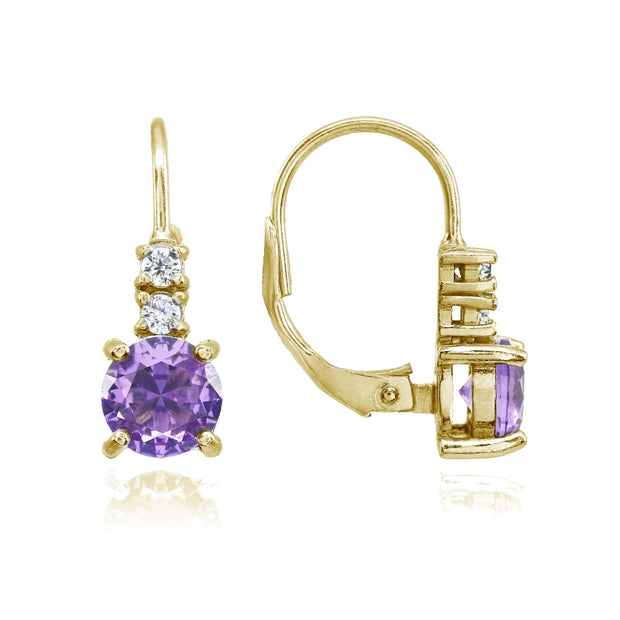Yellow Gold Flashed Sterling Silver Created Amethyst 6mm Round and CZ Accents Leverback Earrings