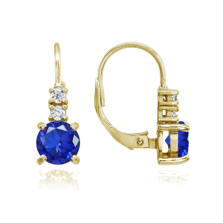 Yellow Gold Flashed Sterling Silver Created Blue Sapphire 6mm Round and CZ Accents Leverback Earrings