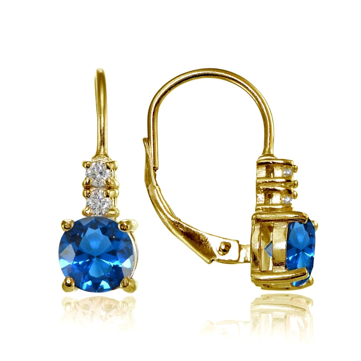 Yellow Gold Flashed Sterling Silver Created London Blue Topaz 6mm Round and CZ Accents Leverback Earrings