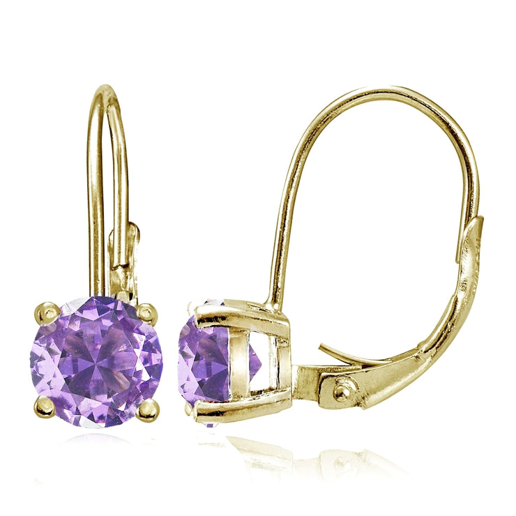 Yellow Gold Flashed Sterling Silver Created Amethyst 6mm Round Leverback Earrings