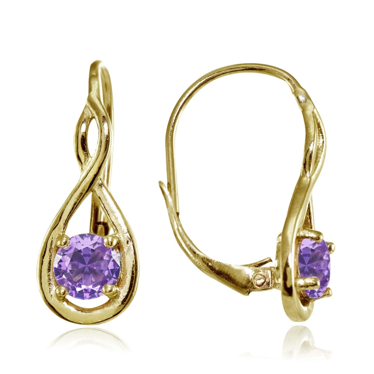 Yellow Gold Flashed Sterling Silver Created Amethyst 5mm Round Infinity Leverback Earrings