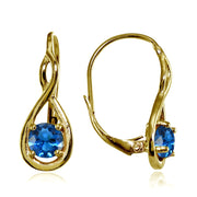 Yellow Gold Flashed Sterling Silver Created London Blue Topaz 5mm Round Infinity Leverback Earrings