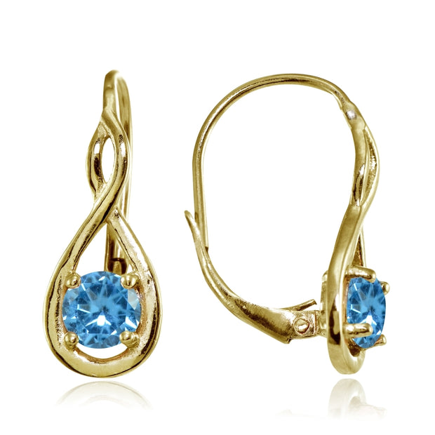 Yellow Gold Flashed Sterling Silver Created Blue Topaz 5mm Round Infinity Leverback Earrings