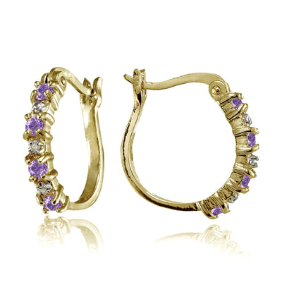 Yellow Gold Flashed Sterling Silver Polished Simulated Amethyst Round Hoop Earrings