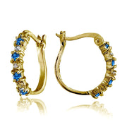 Yellow Gold Flashed Sterling Silver Polished Simulated London Blue Topaz Round Hoop Earrings