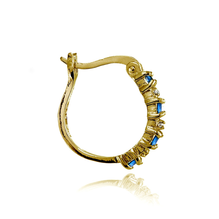 Yellow Gold Flashed Sterling Silver Polished Created London Blue Topaz Round Hoop Earrings