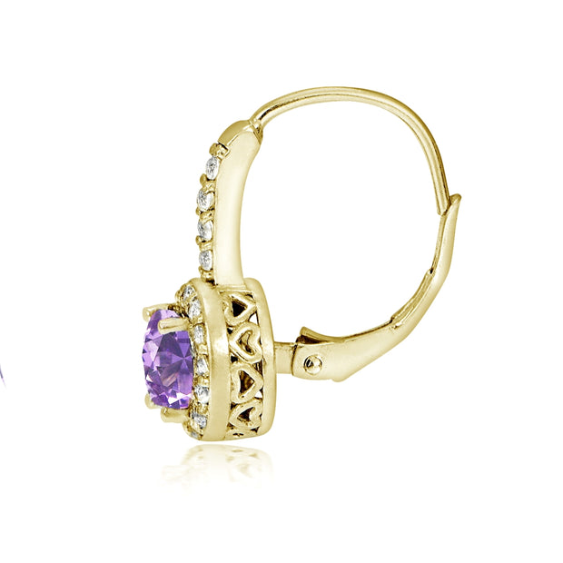 Yellow Gold Flashed Sterling Silver Created Amethyst 5mm Round and CZ Accents Leverback Earrings