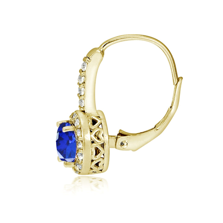 Yellow Gold Flashed Sterling Silver Created Blue Sapphire 5mm Round and CZ Accents Leverback Earrings