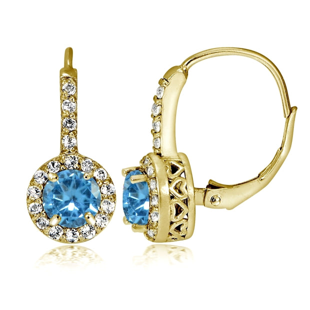 Yellow Gold Flashed Sterling Silver Created Blue Topaz 5mm Round and CZ Accents Leverback Earrings