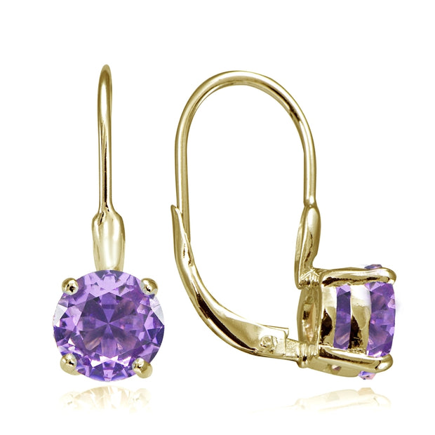 Yellow Gold Flashed Sterling Silver Created Amethyst 7mm Round Solitaire Leverback Earrings