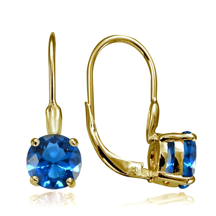 Yellow Gold Flashed Sterling Silver Created London Blue Topaz 7mm Round Solitaire Leverback Earrings