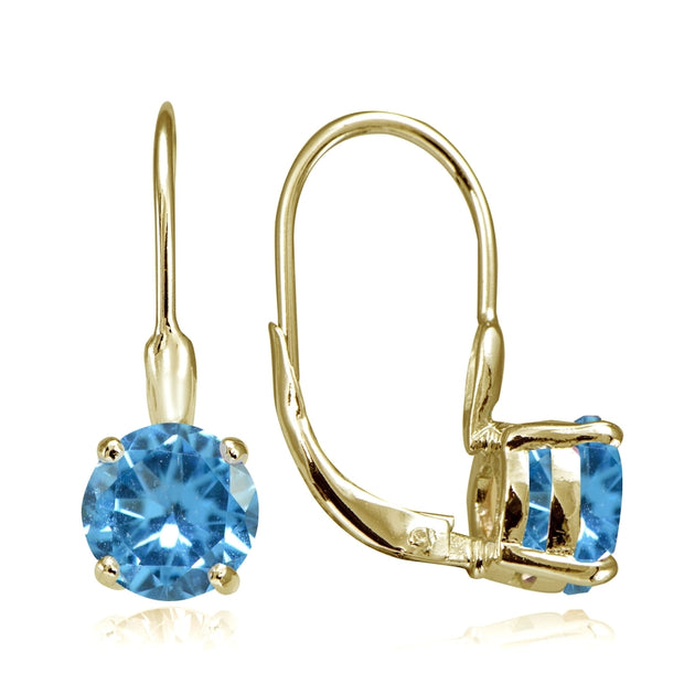 Yellow Gold Flashed Sterling Silver Created Blue Topaz 7mm Round Solitaire Leverback Earrings