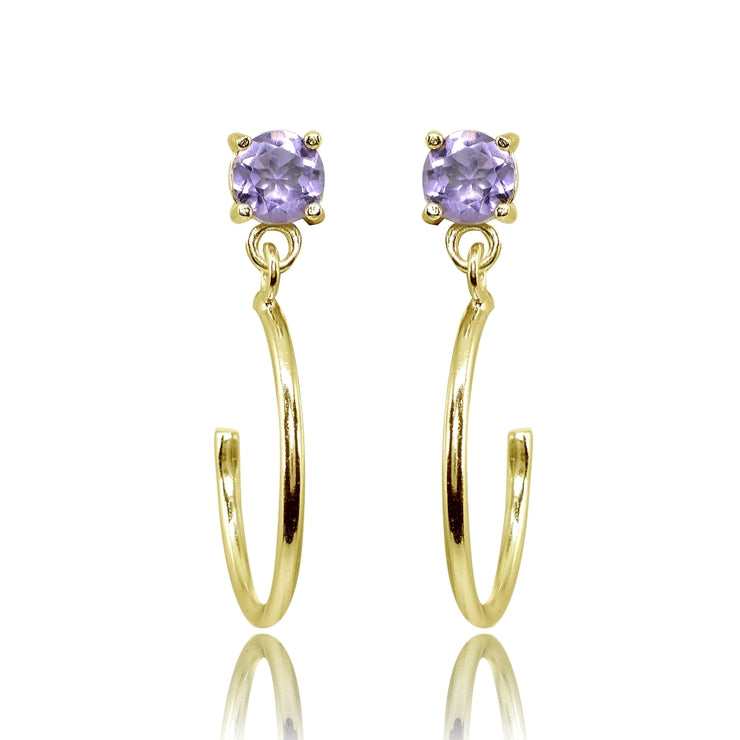 Yellow Gold Flashed Sterling Silver 4mm Amethyst Dangling Half Hoop Stud Earrings