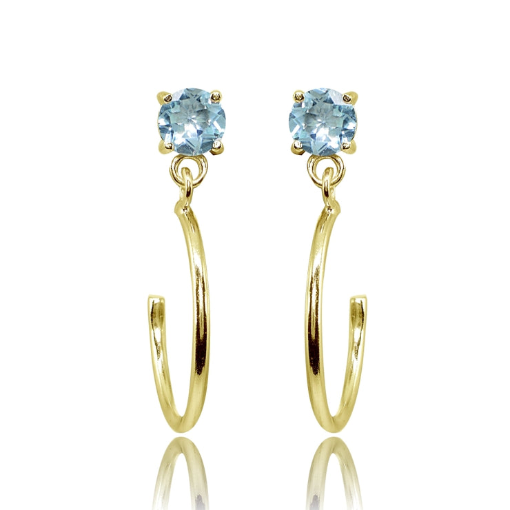 Yellow Gold Flashed Sterling Silver 4mm Blue Topaz Dangling Half Hoop Stud Earrings