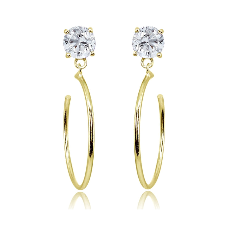 Yellow Gold Flashed Sterling Silver 5mm Cubic Zirconia Dangling Half Hoop Stud Earrings