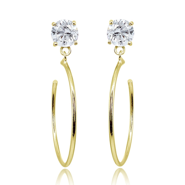 Yellow Gold Flashed Sterling Silver 6mm Cubic Zirconia Dangling Half Hoop Stud Earrings