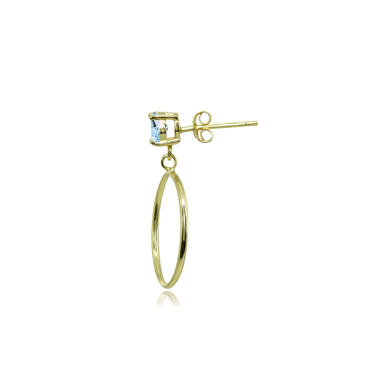 Yellow Gold Flashed Sterling Silver 4mm Blue Topaz Dangling Round Hoop Stud Earrings