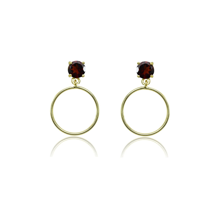 Yellow Gold Flashed Sterling Silver 4mm Garnet Dangling Round Hoop Stud Earrings