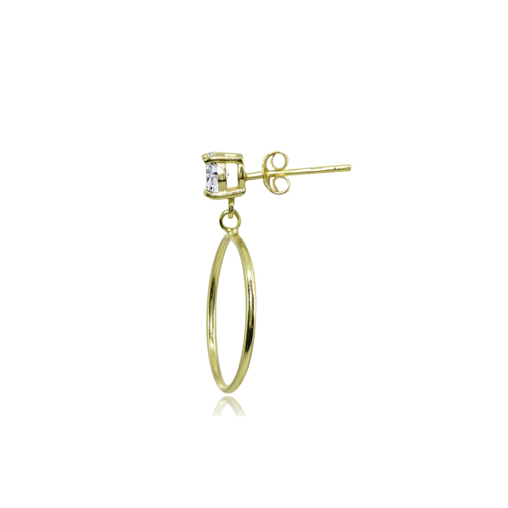 Yellow Gold Flashed Sterling Silver 4mm Cubic Zirconia Dangling Round Hoop Stud Earrings