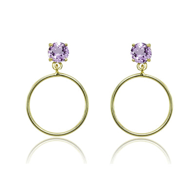 Yellow Gold Flashed Sterling Silver 5mm Amethyst Dangling Round Hoop Stud Earrings