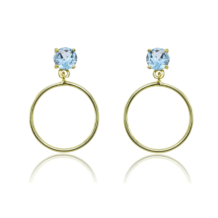 Yellow Gold Flashed Sterling Silver 5mm Blue Topaz Dangling Round Hoop Stud Earrings