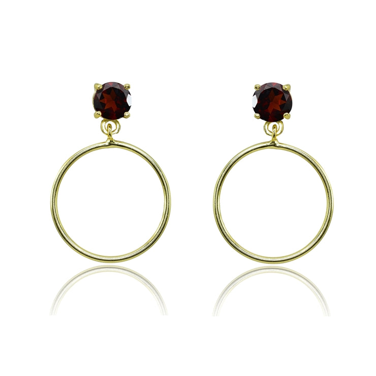 Yellow Gold Flashed Sterling Silver 5mm Garnet Dangling Round Hoop Stud Earrings
