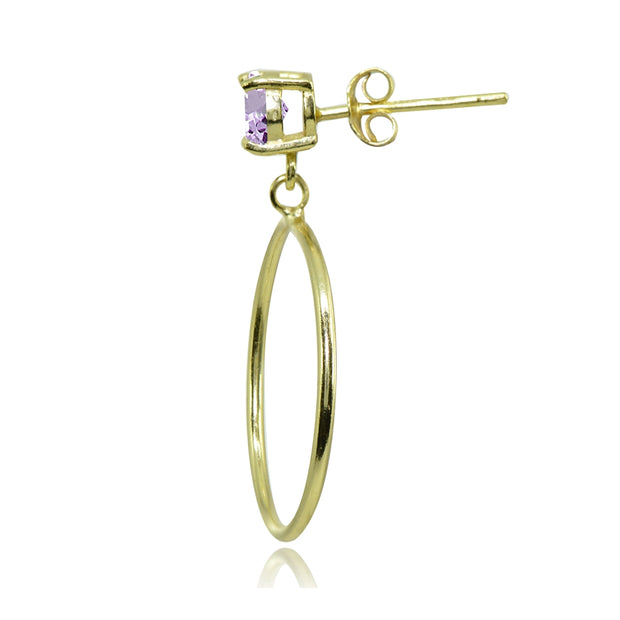 Yellow Gold Flashed Sterling Silver 6mm Amethyst Dangling Round Hoop Stud Earrings