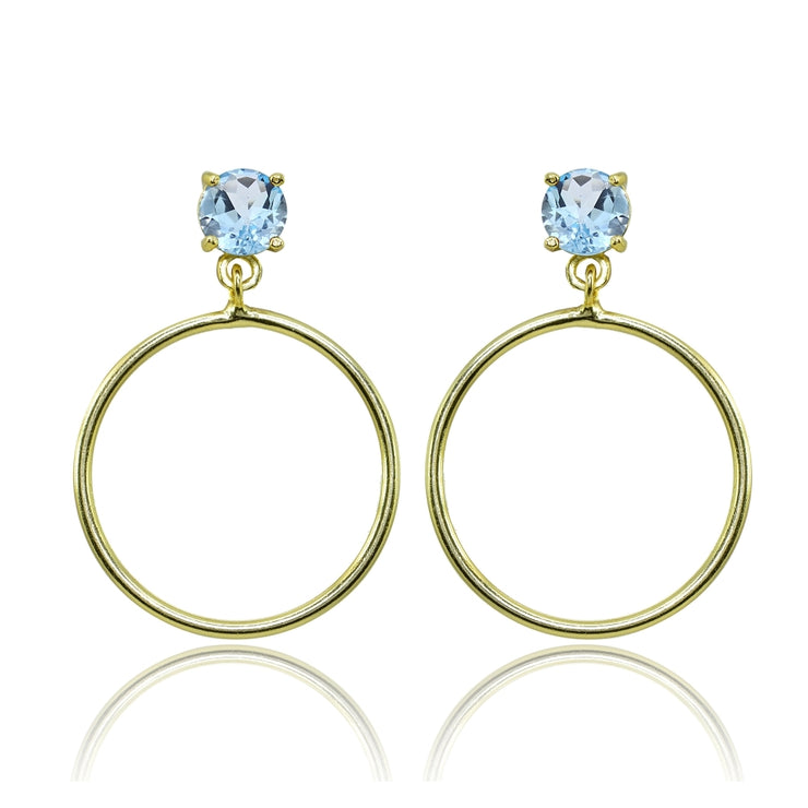 Yellow Gold Flashed Sterling Silver 6mm Blue Topaz Dangling Round Hoop Stud Earrings
