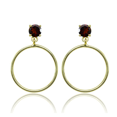 Yellow Gold Flashed Sterling Silver 6mm Garnet Dangling Round Hoop Stud Earrings