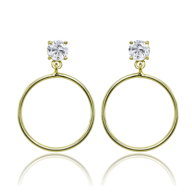 Yellow Gold Flashed Sterling Silver 6mm Cubic Zirconia Dangling Round Hoop Stud Earrings