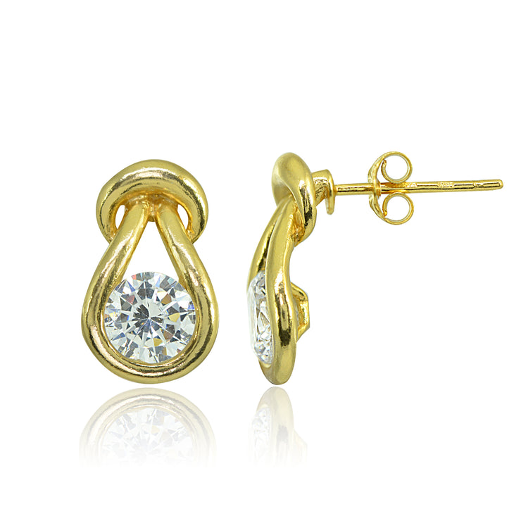 Yellow Gold Flashed Sterling Silver Cubic Zirconia Round Polished Knot Stud Earrings