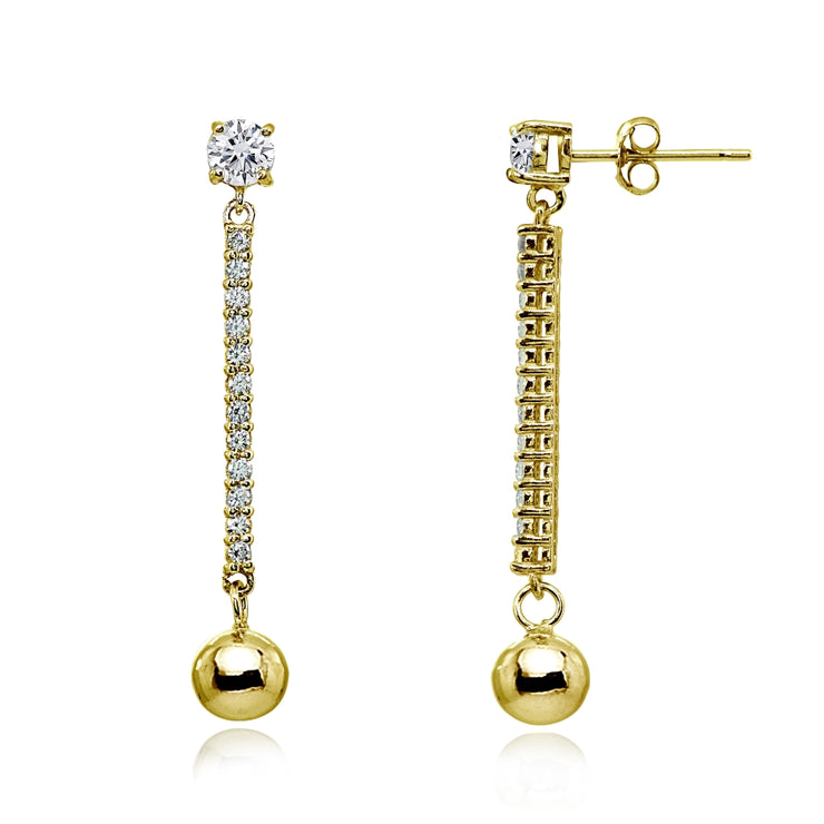 Yellow Gold Flashed Sterling Silver Cubic Zirconia Round Long Dangling Bar Bead Drop Stud Earrings