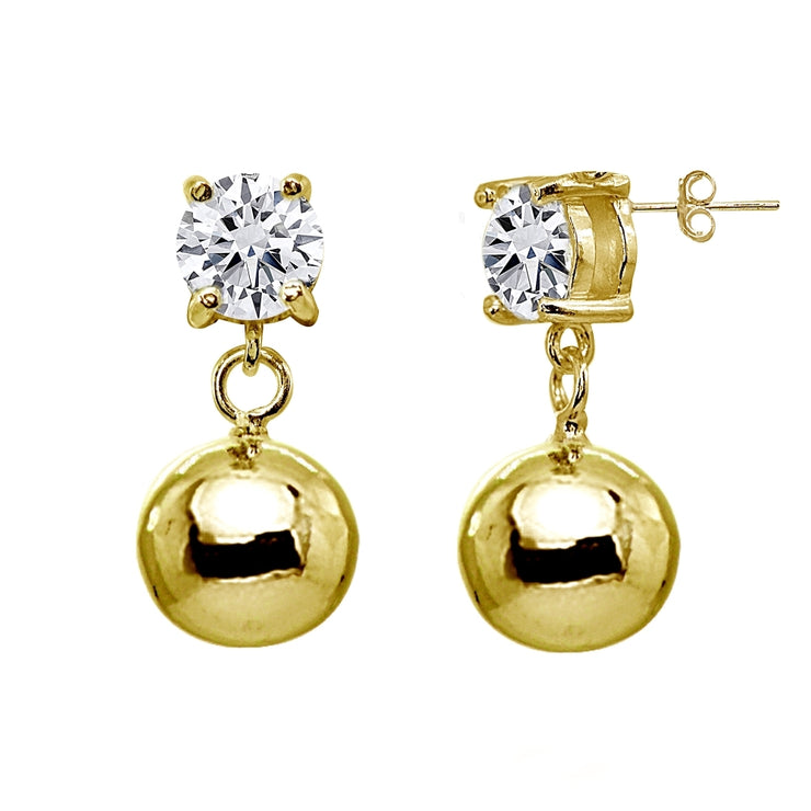 Yellow Gold Flashed Sterling Silver Cubic Zirconia 6mm Dangling Round Bead Stud Earrings