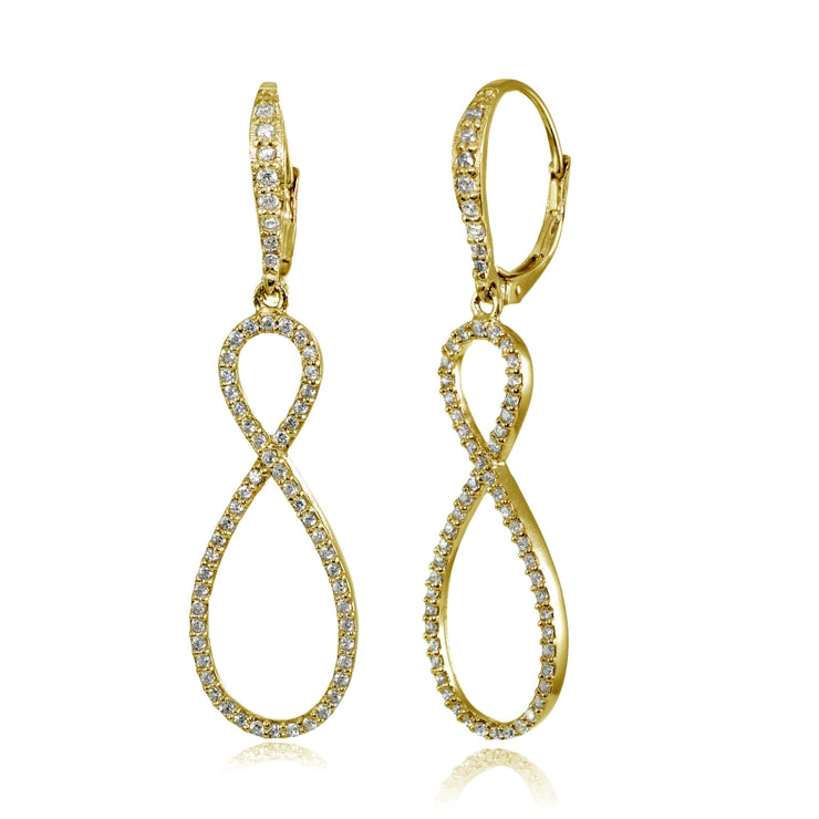 Yellow Gold Flashed Sterling Silver Cubic Zirconia Infinity Long Dangle Leverback Earrings
