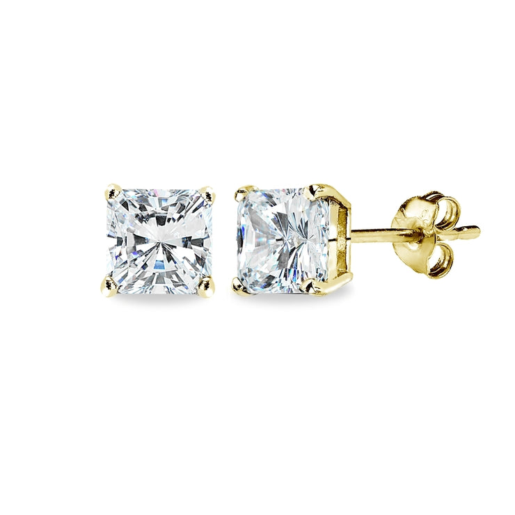 Gold Flash Sterling Silver AAA Cubic Zirconia 6x6mm Princess-Cut Square Stud Earrings