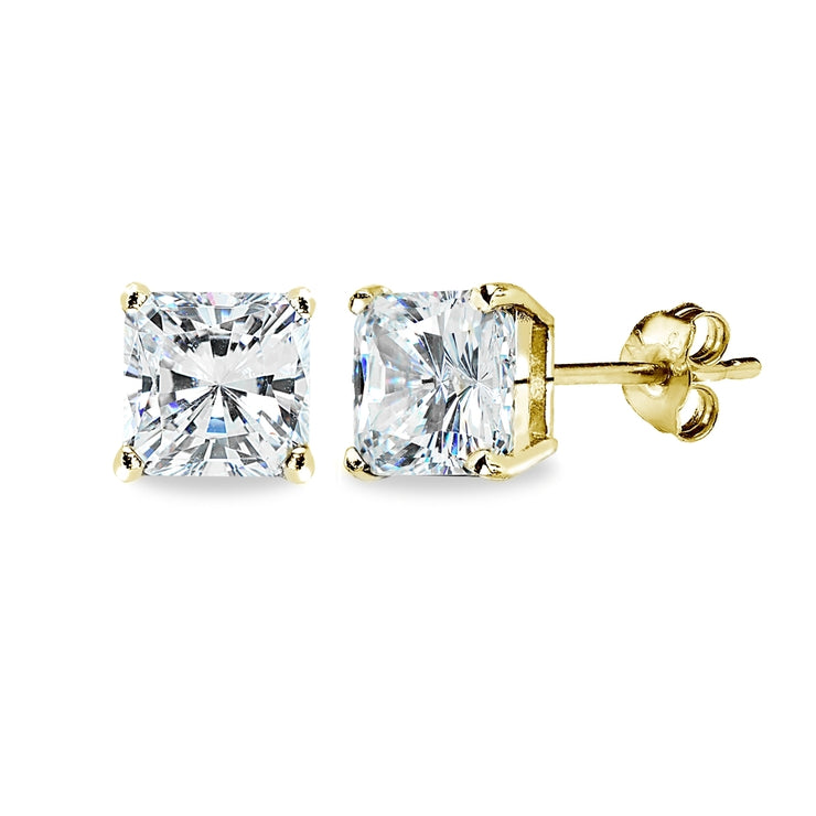Gold Flash Sterling Silver AAA Cubic Zirconia 7x7mm Princess-Cut Square Stud Earrings