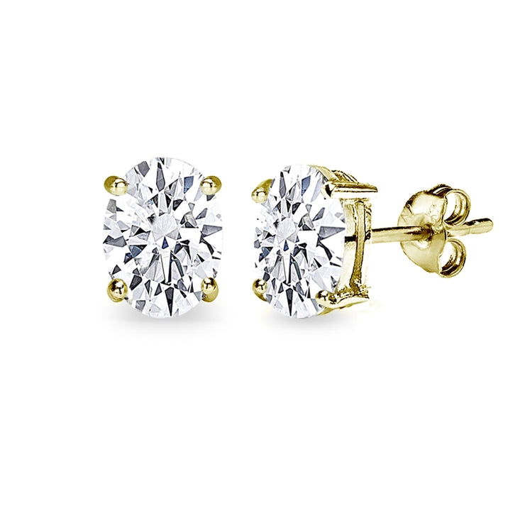 Gold Flash Sterling Silver AAA Cubic Zirconia 8x6mm Oval-Cut Stud Earrings