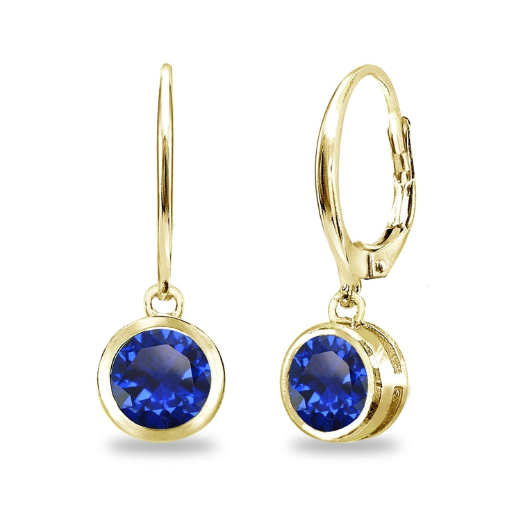 Gold Flash Sterling Silver Created Blue Sapphire 6mm Round Bezel-Set Dangle Leverback Earrings